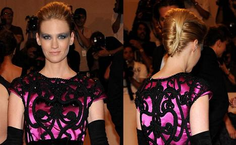 january jones, january jones hair,january jones met,january jones hairstyle,january jones hair style, french twist