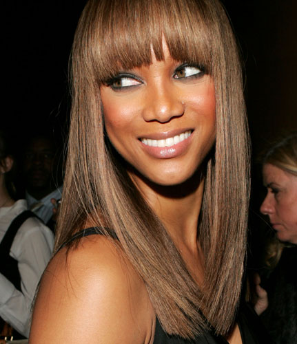 tyra banks, tyra banks hair, tyra banks bangs, heavy bangs, hair styles with heavy bangs