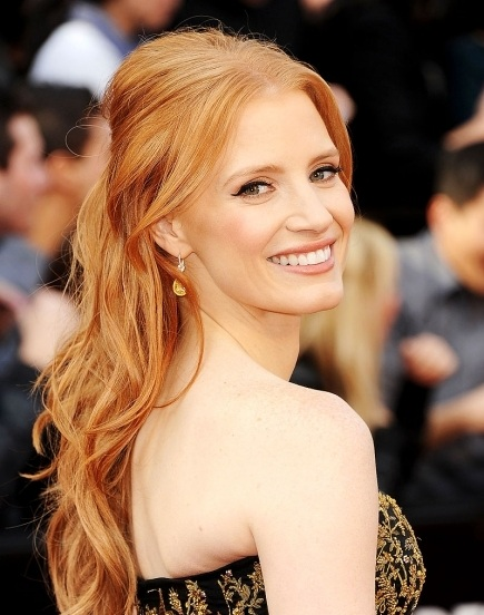 Jessica Chastain, Jessica Chastain hair, Jessica Chastain oscar awards, Jessica Chastain 2012 academy awards, Jessica Chastain hair style, Jessica Chastain 2012 oscars, Jessica Chastain academy award show