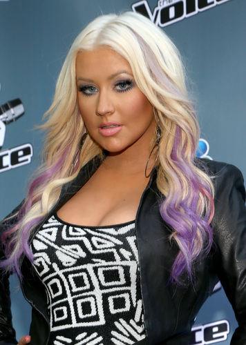 Christina Aguilera Purple Streaks dip dye ombre