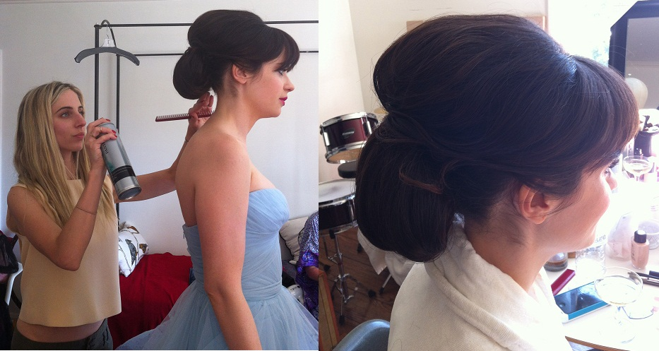 Zooey Deschanel and Mara Roszak, emmy hair, 2102 emmy hair, hair style