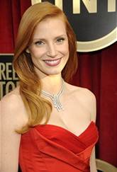 jessica chastain, SAG's, hairstyle, long hair