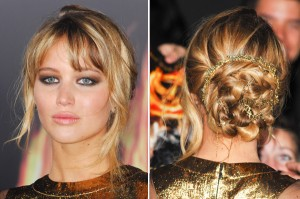 jennifer lawrence, red carpet, hair, loose, wispy, sleek, style