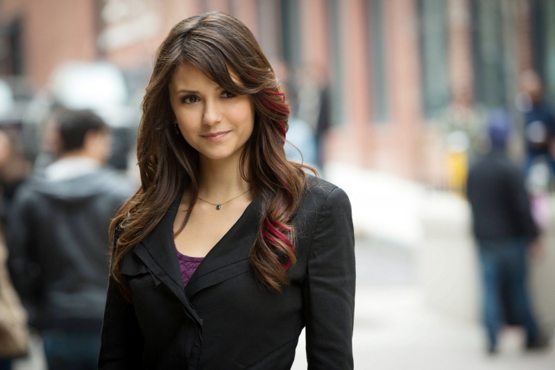 nina dobrev, pink hair, vampire diaries, highlights, pink highlights